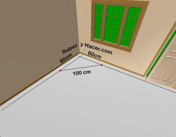 C mo escuadrar superficies ejemplos pr cticos saber y hacer for Como poner baldosas en pared